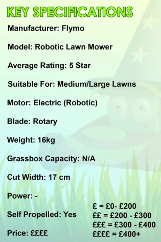 Flymo Robotic Mower Spec Image