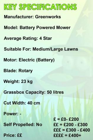 greenworks battery mower spec image