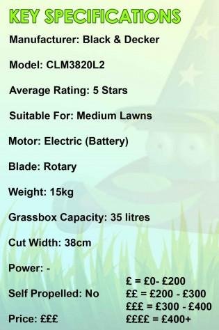B&D CLM3820L2 Spec Image