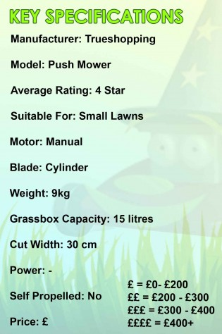 Trueshopping Push Mower Spec Image