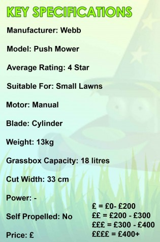 Webb Push Mower Spec Image