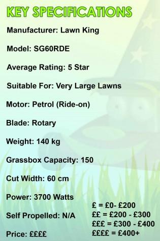 Lawn King SG60RDE Spec Image