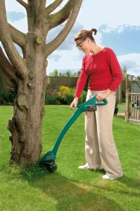 Woman strimmer Lawn Mower Wizard